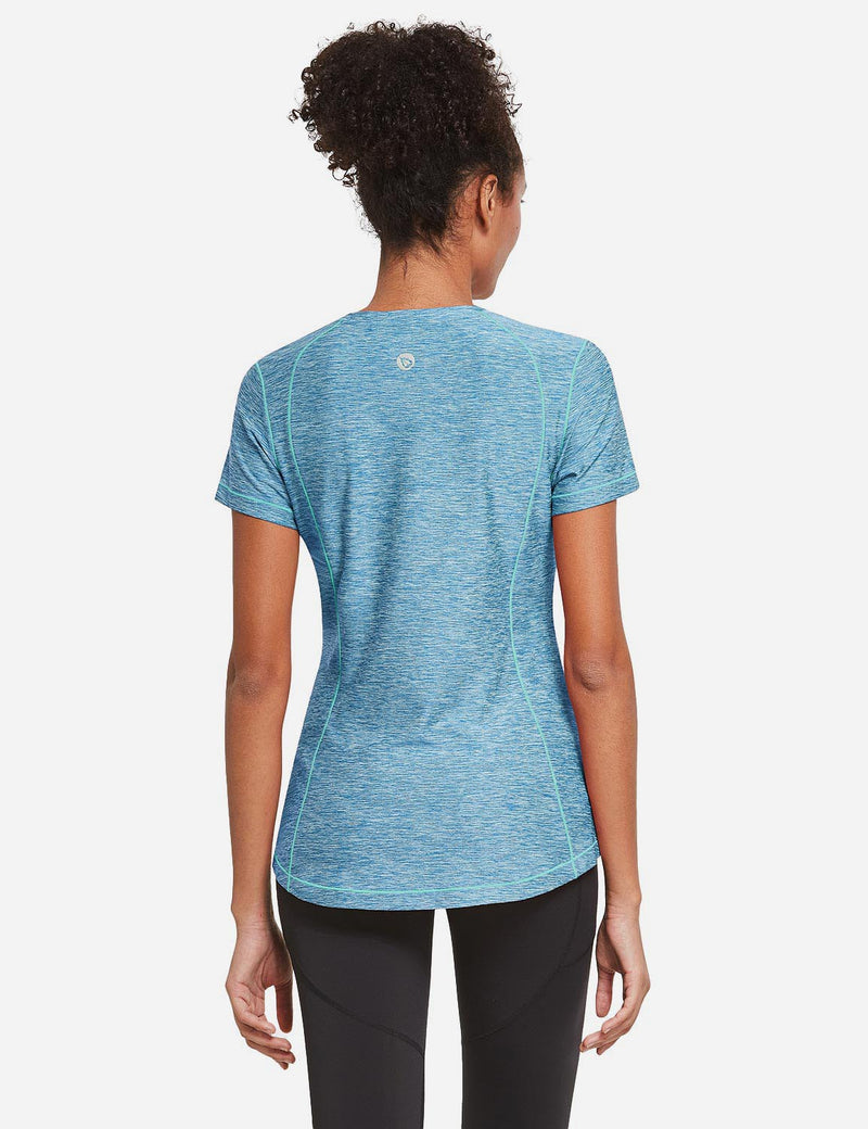 Baleaf Womens Quick Dry Round Neck Short Sleeved Workout Top Blue Back