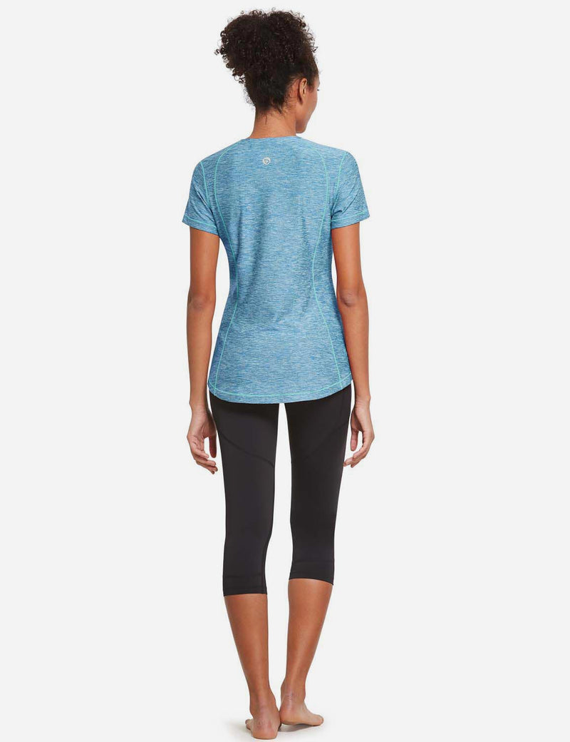 Baleaf Womens Quick Dry Round Neck Short Sleeved Workout Top Blue Full