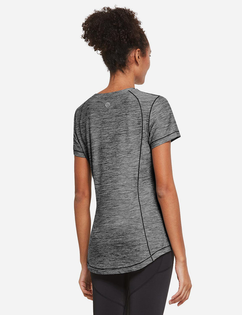 Baleaf Womens Quick Dry Round Neck Short Sleeved Workout Top Dark Gray Back