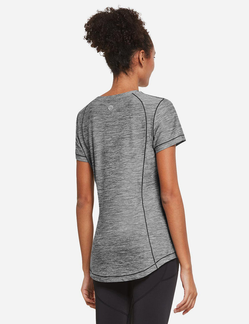 Baleaf Womens Quick Dry Round Neck Short Sleeved Workout Top Light Gray Back