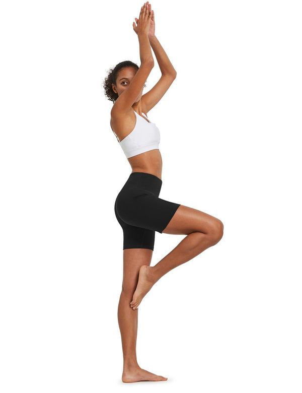 "Baleaf Womens 5"" High Rise Polyester Yoga & Workout Compression Bottoms Black full"