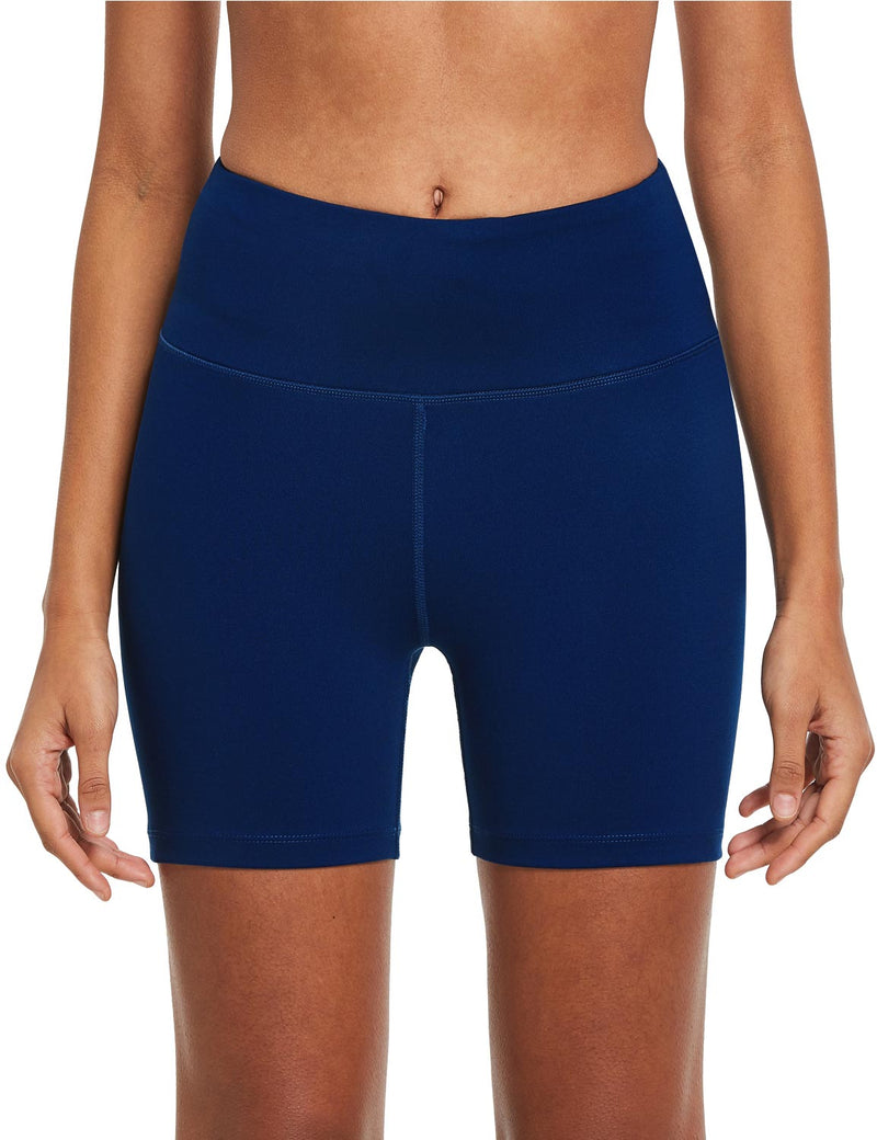 "Baleaf Womens 5"" High Rise Polyester Yoga & Workout Compression Bottoms Navy Blue front"