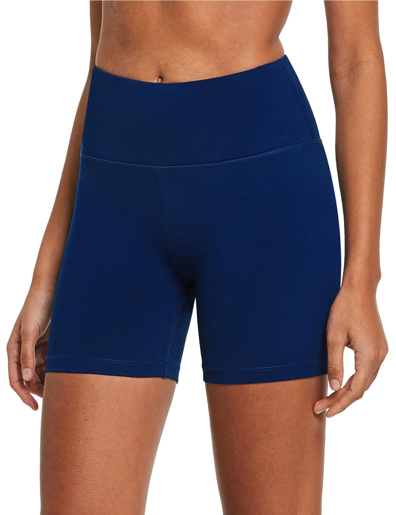 "Baleaf Womens 5"" High Rise Polyester Yoga & Workout Compression Bottoms Navy Blue side"