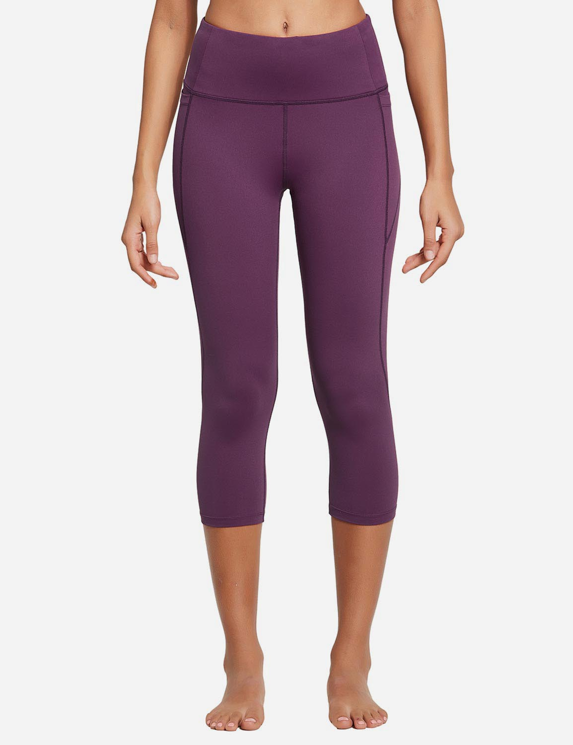Baleaf Womens High Rise Bottom Contour Pocketed Capris Dark Magenta Front