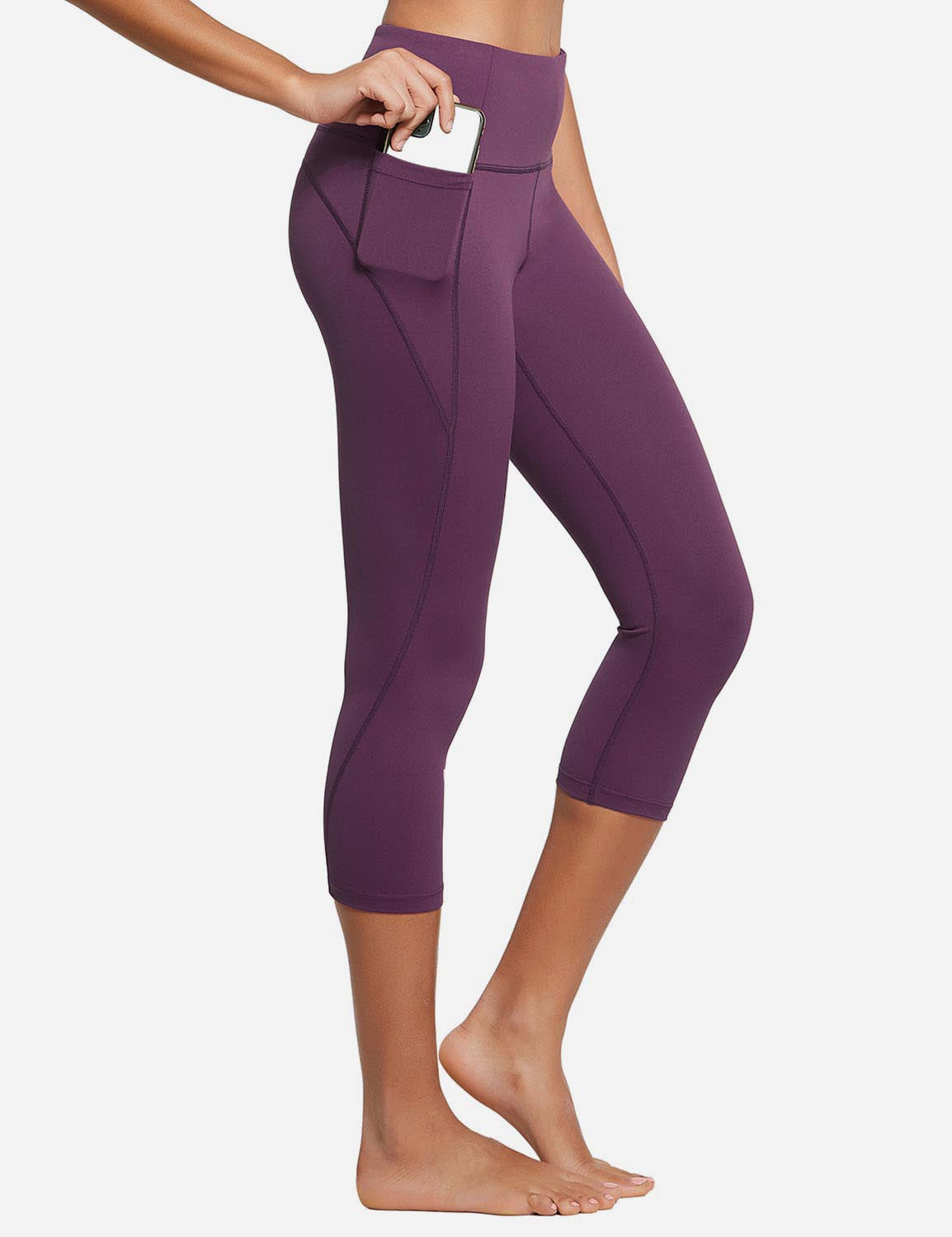Baleaf Womens High Rise Bottom Contour Pocketed Capris Dark Magenta Side