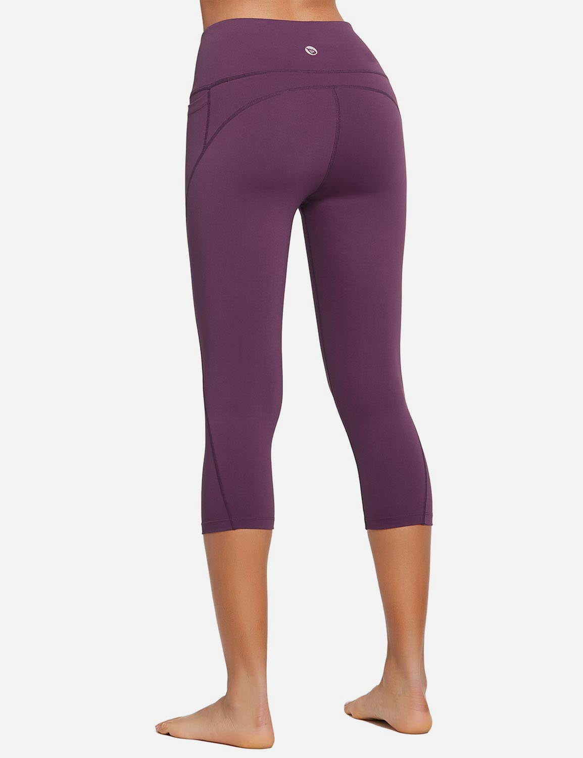Baleaf Womens High Rise Bottom Contour Pocketed Capris Dark Magenta Back