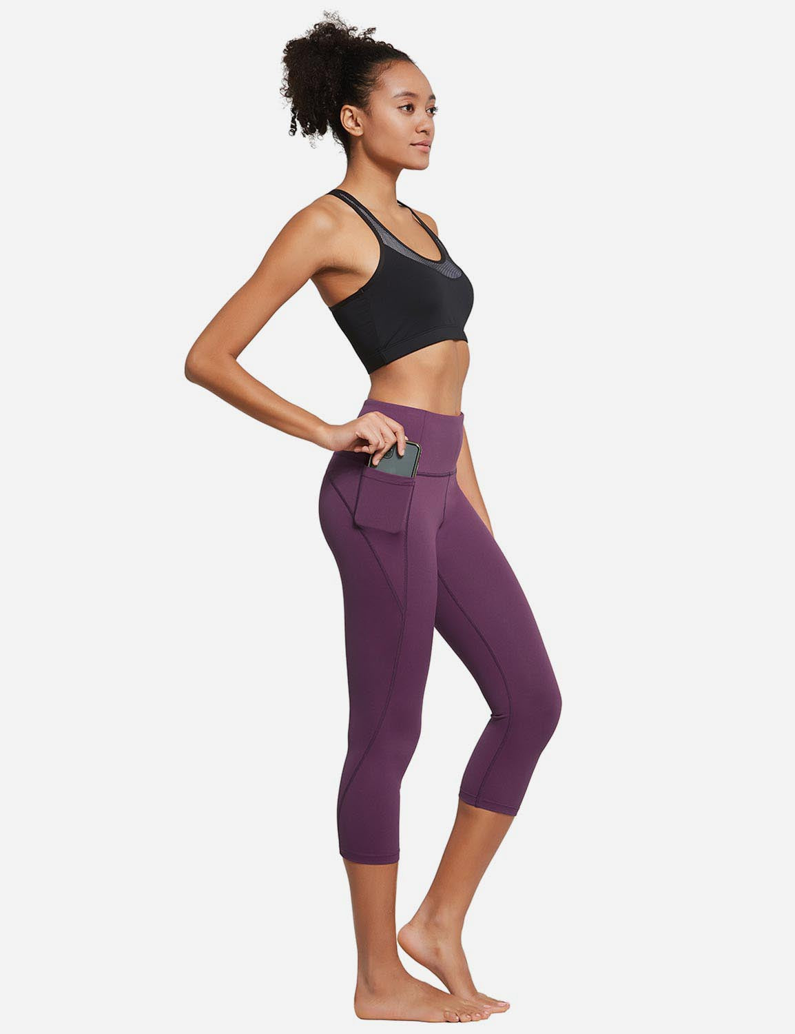 Baleaf Womens High Rise Bottom Contour Pocketed Capris Dark Magenta Full