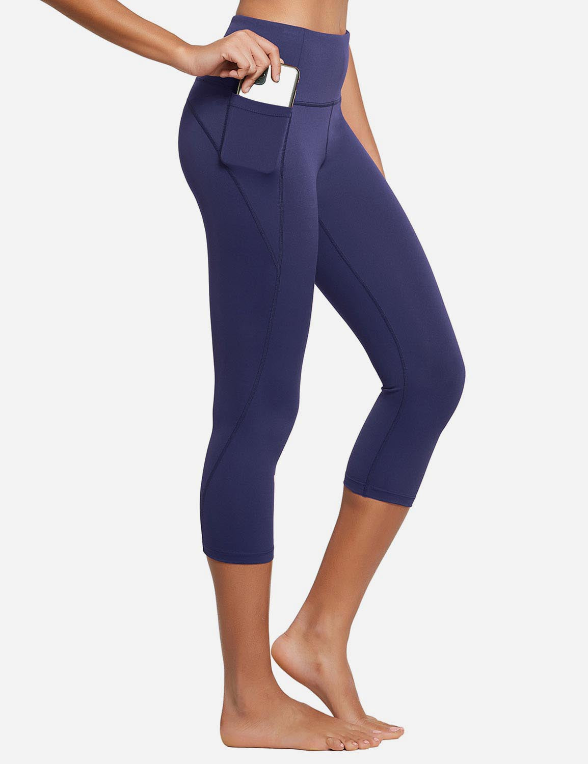 Baleaf Womens High Rise Bottom Contour Pocketed Capris Dark Navy Side