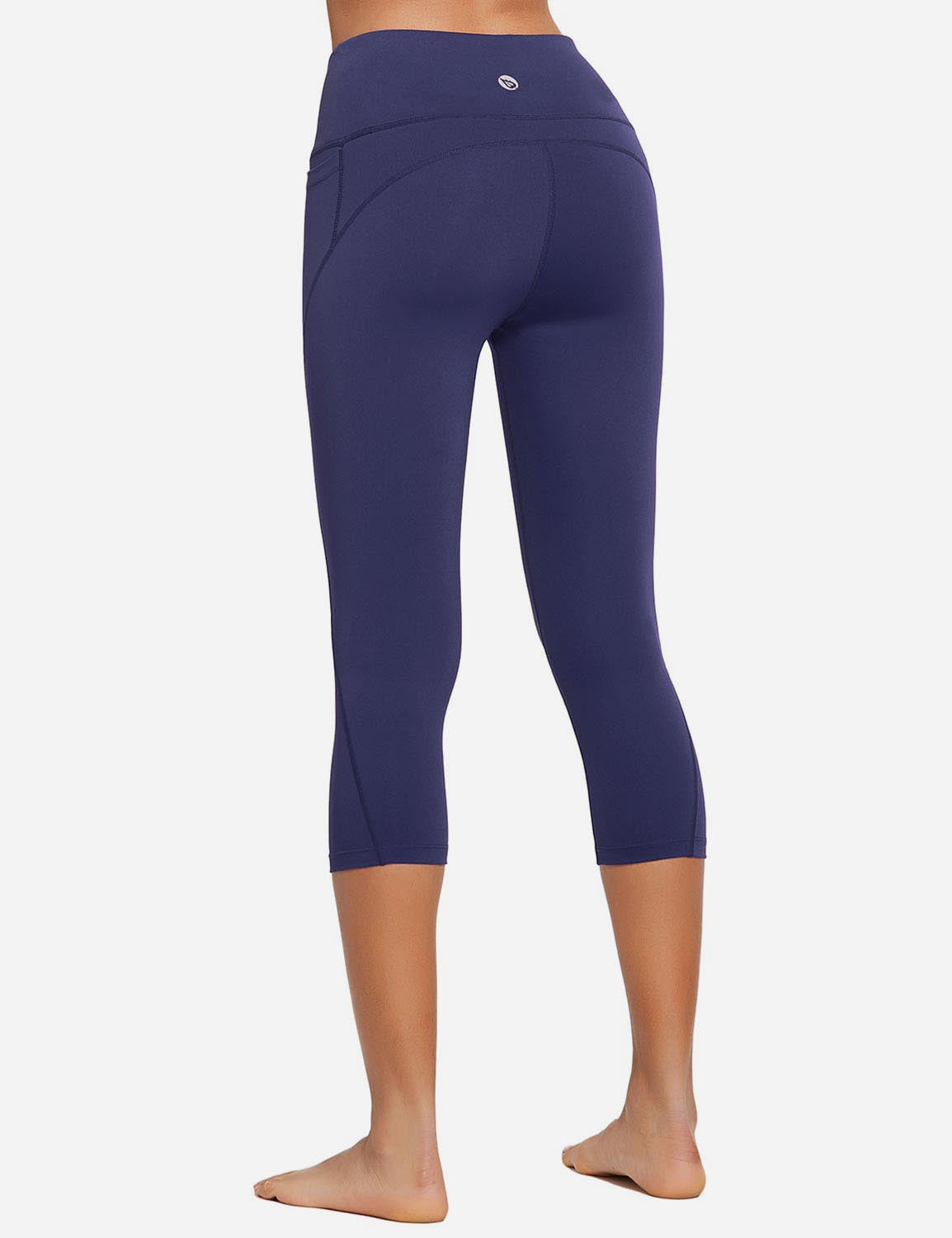 Baleaf Womens High Rise Bottom Contour Pocketed Capris Dark Navy Back
