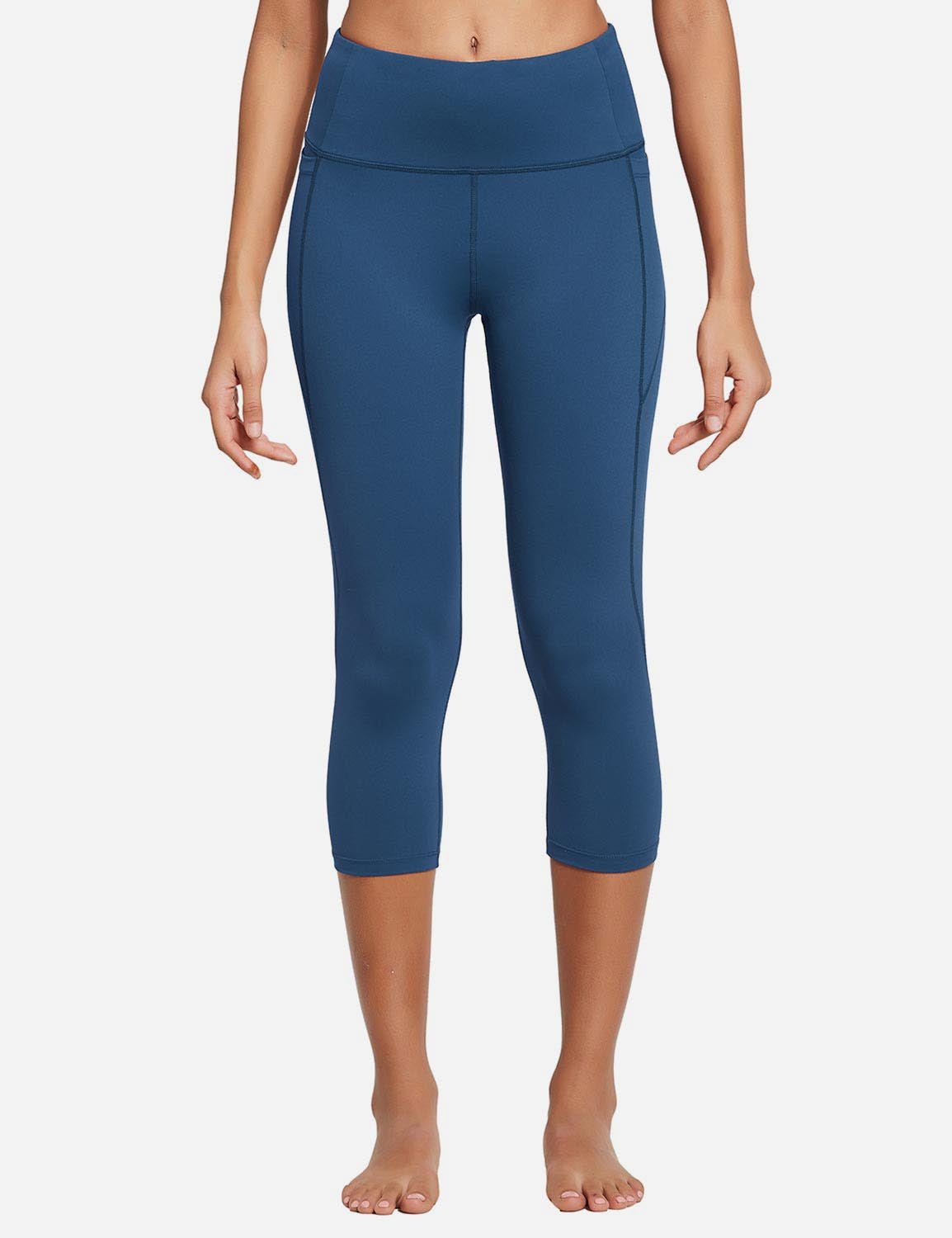Baleaf Womens High Rise Bottom Contour Pocketed Capris Denim Blue Front