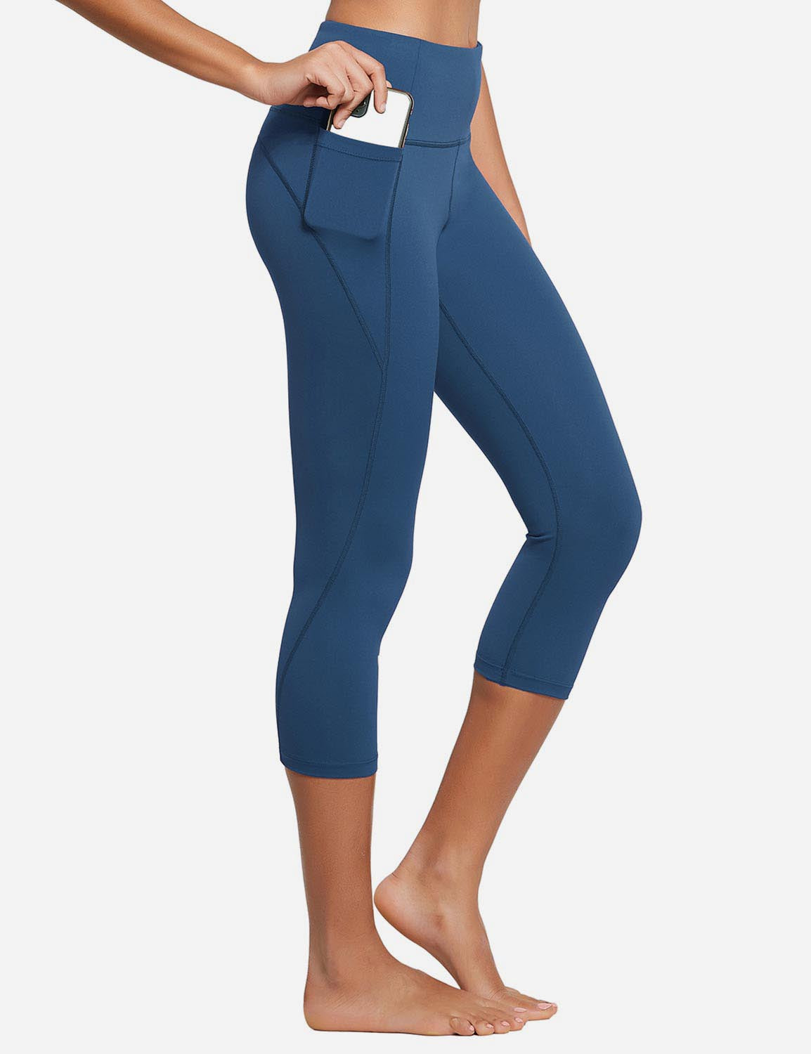 Baleaf Womens High Rise Bottom Contour Pocketed Capris Denim Blue Side