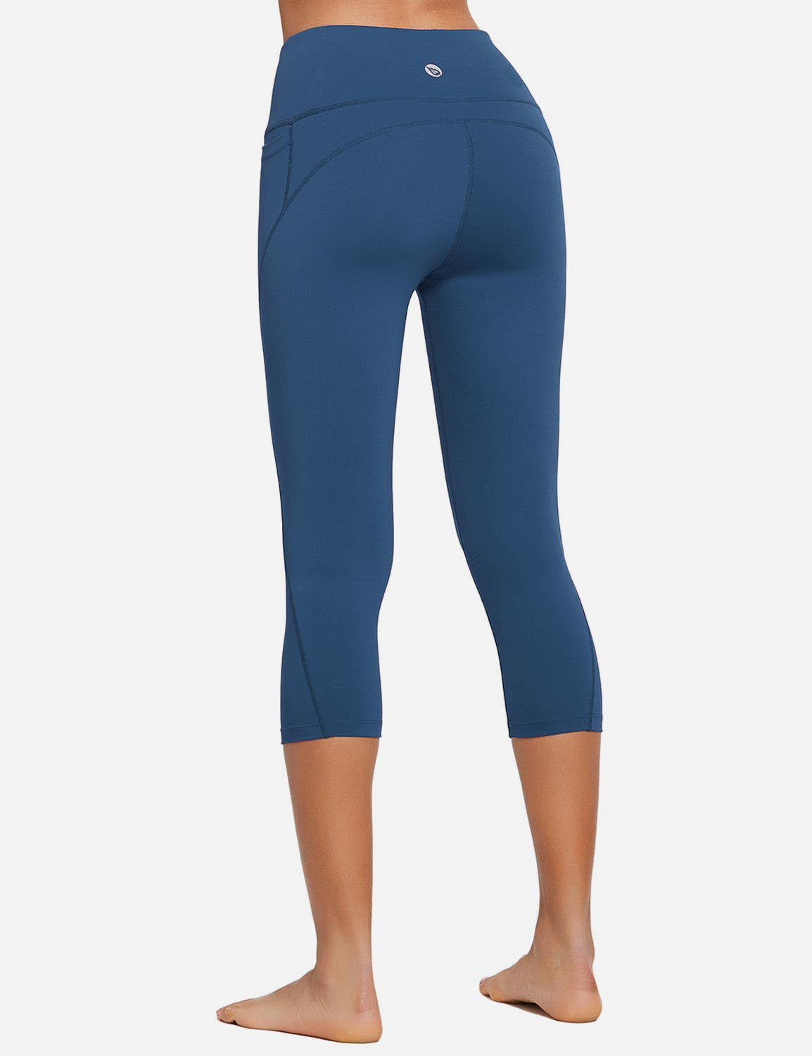 Baleaf Womens High Rise Bottom Contour Pocketed Capris Denim Blue Back