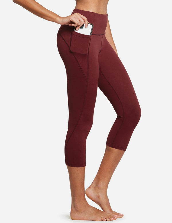 Baleaf Womens High Rise Bottom Contour Pocketed Capris Wine Red side