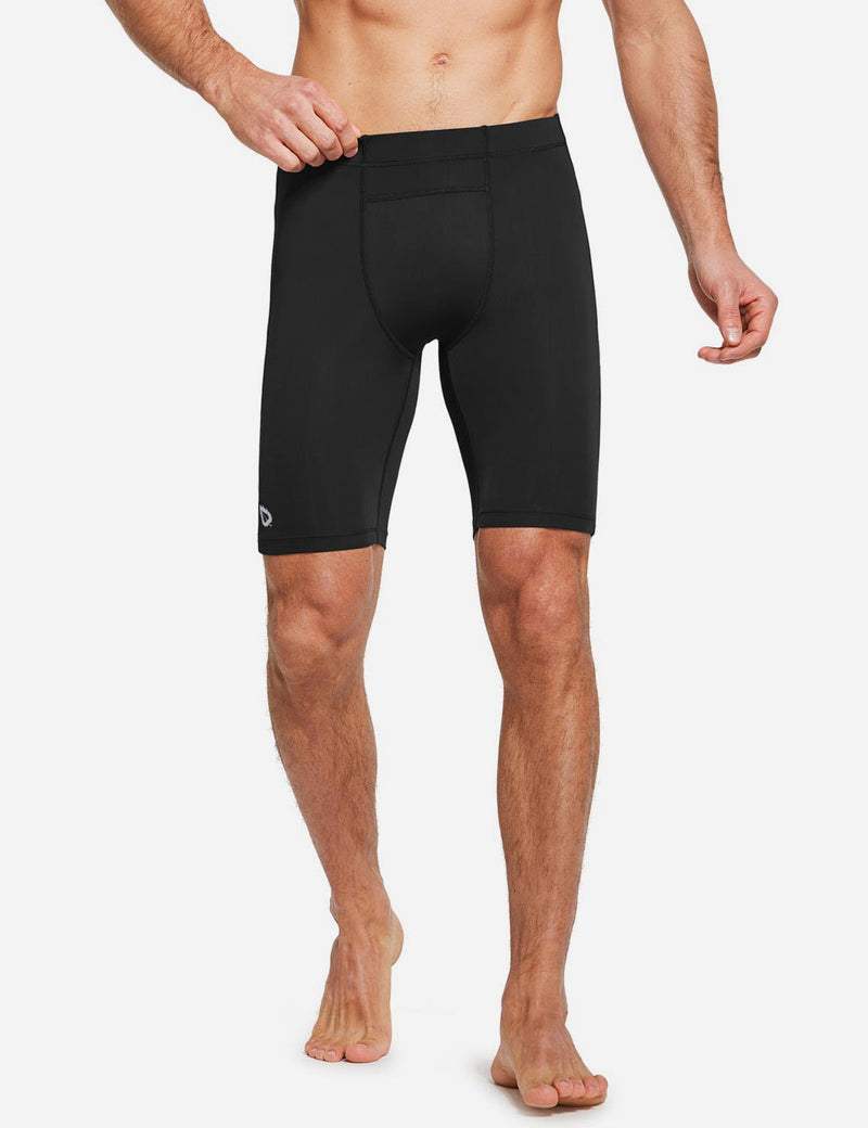 "Baleaf Mens 9"" Compression Pocketed Workout Baselayer Shorts Black front"