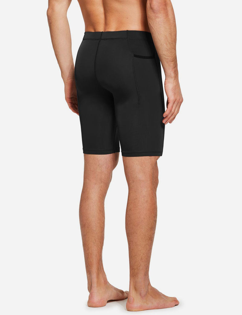 "Baleaf Mens 9"" Compression Pocketed Workout Baselayer Shorts Black back"