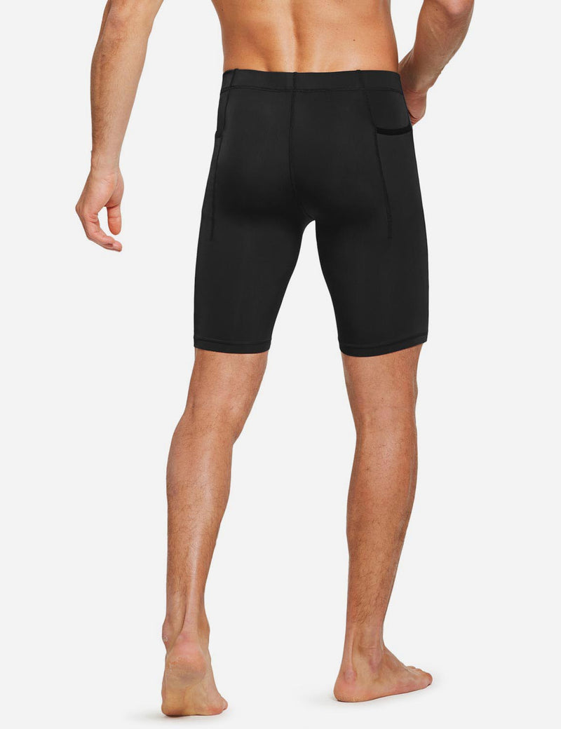 "Baleaf Mens 9"" Compression Pocketed Workout Baselayer Shorts Black side"