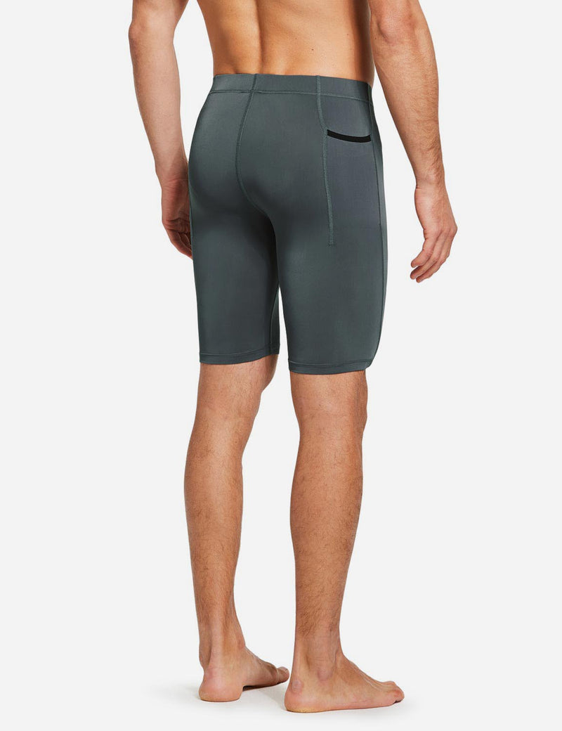 "Baleaf Mens 9"" Compression Pocketed Workout Baselayer Shorts Gray back"