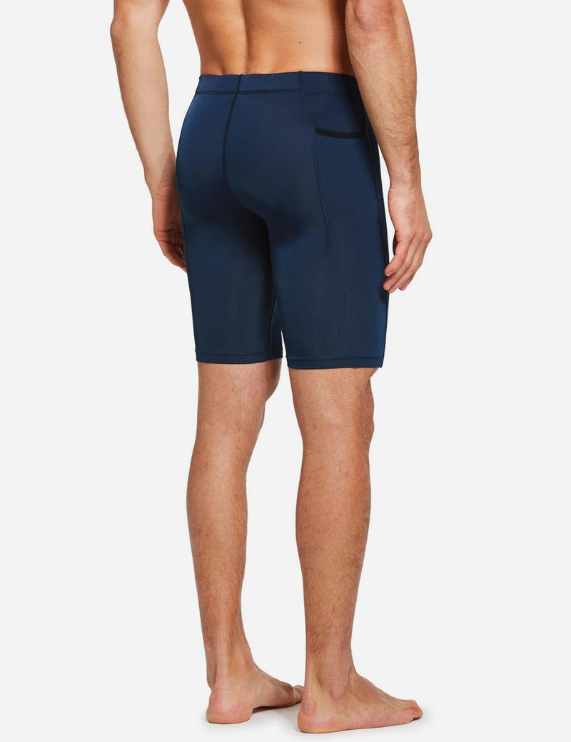 "Baleaf Mens 9"" Compression Pocketed Workout Baselayer Shorts Dark Blue back"