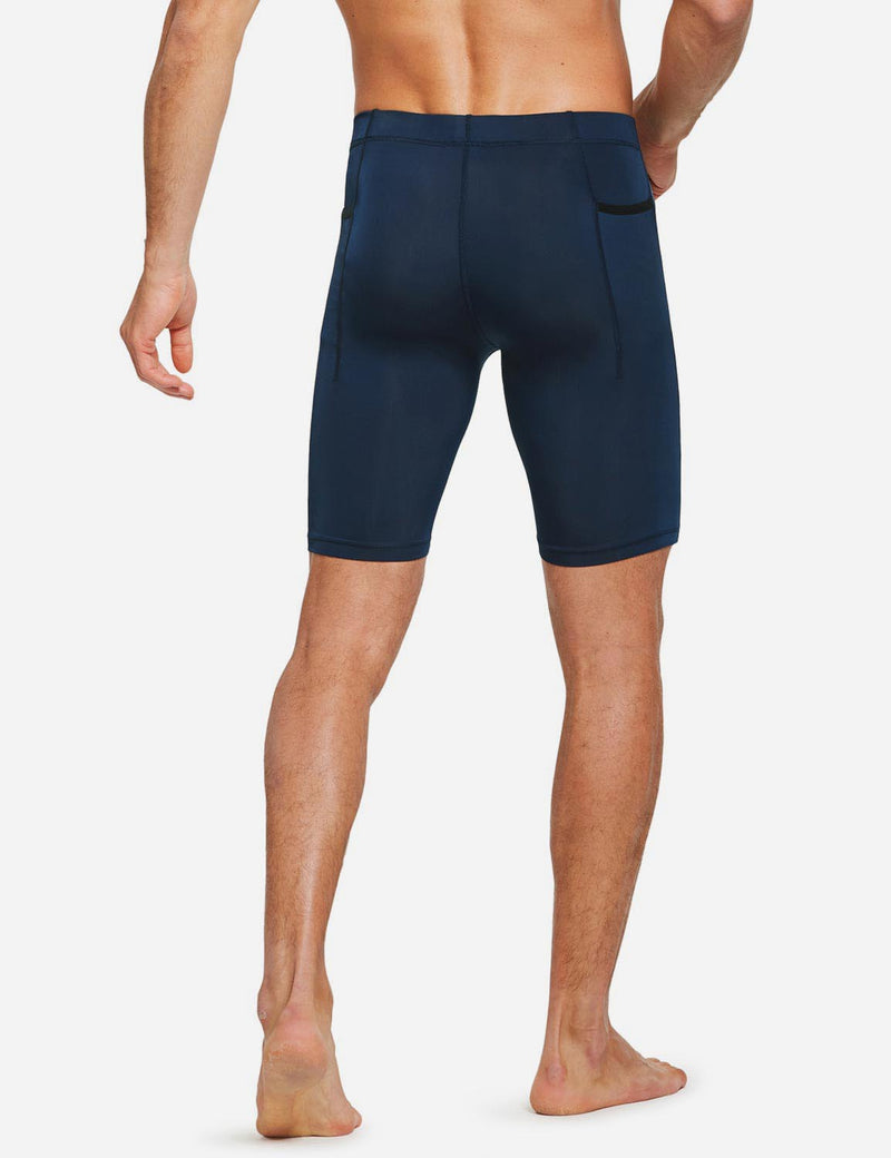 "Baleaf Mens 9"" Compression Pocketed Workout Baselayer Shorts Dark Blue side"