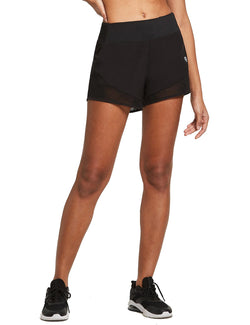 Baleaf Womens 2-in-1 Elastic Waistband Activewear Shorts Black front