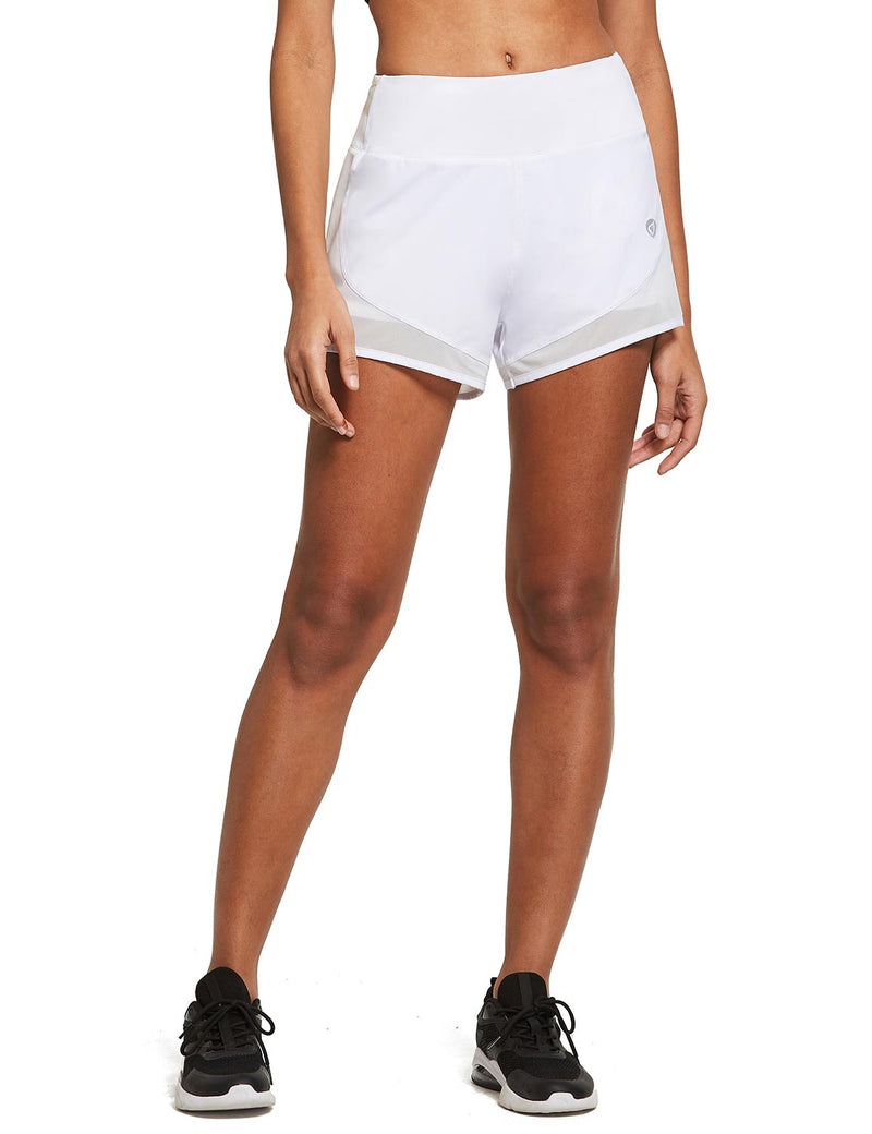 Baleaf Womens 2-in-1 Elastic Waistband Activewear Shorts White front