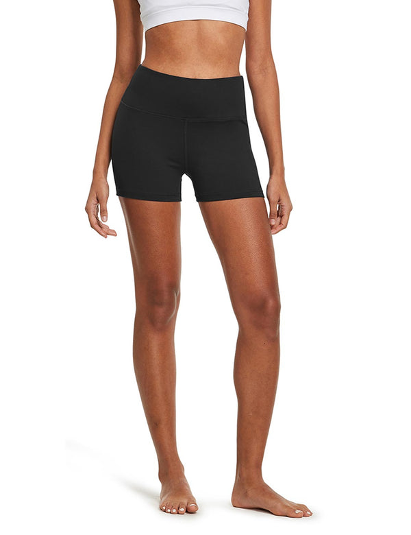 "Baleaf Womens 3"" High-Rise Seamless Compression Workout & Yoga Shorts Black front"