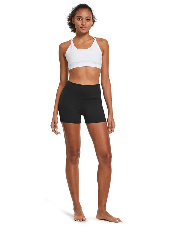 "Baleaf Womens 3"" High-Rise Seamless Compression Workout & Yoga Shorts Black full"