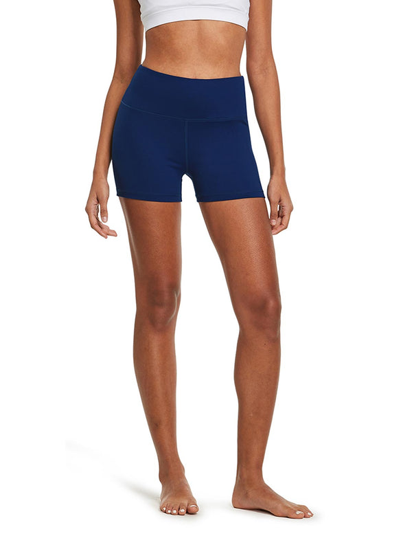 "Baleaf Womens 3"" High-Rise Seamless Compression Workout & Yoga Shorts Navy front"