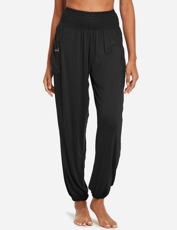 Baleaf women's High Rise Elastic Waistband Pocketed Harem Pants black front