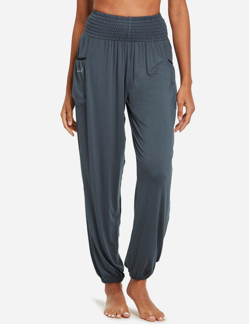 Baleaf women's High Rise Elastic Waistband Pocketed Harem Pants dark gray front