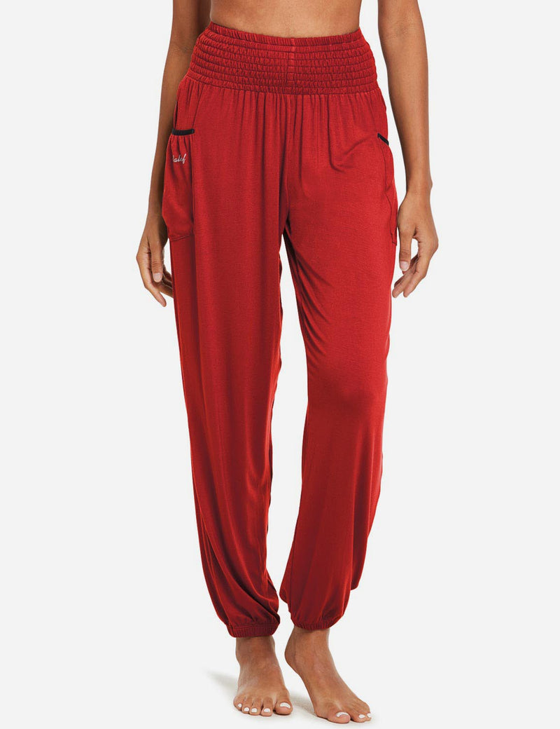 Baleaf women's High Rise Elastic Waistband Pocketed Harem Pants red front