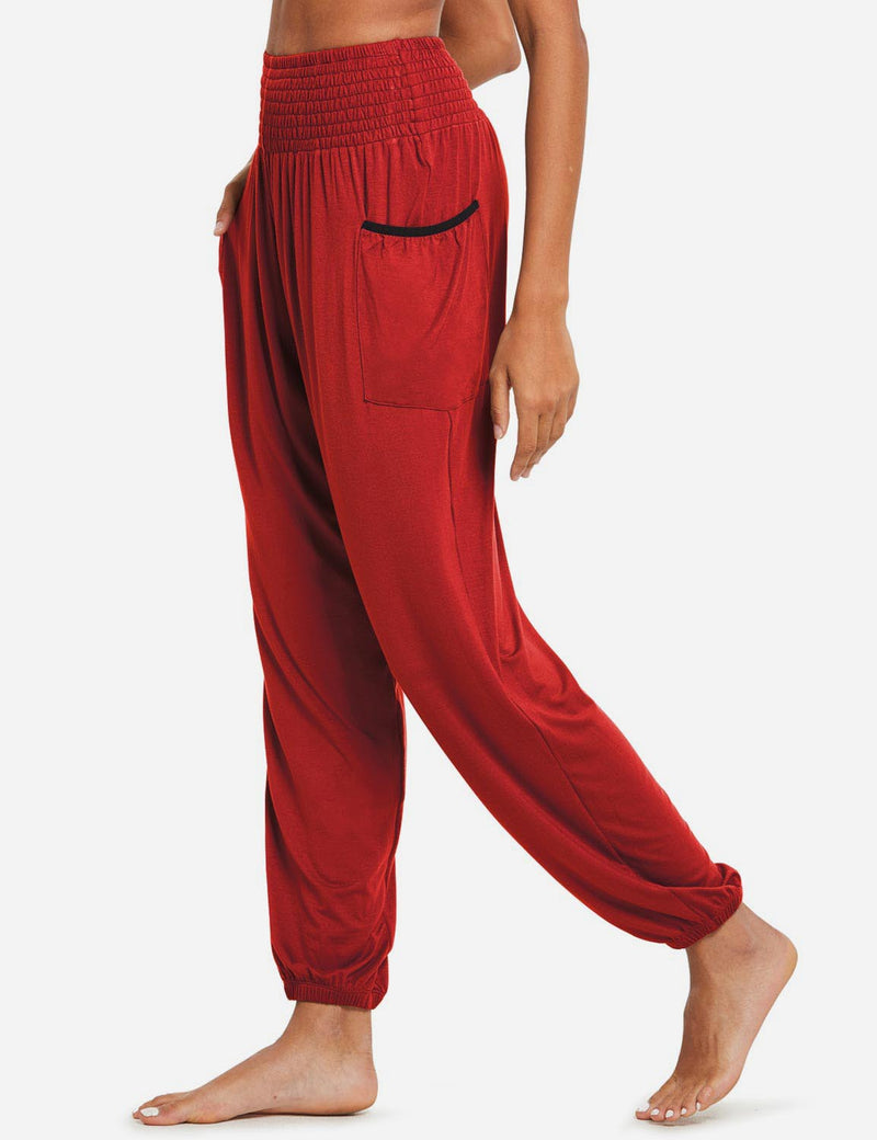 Baleaf women's High Rise Elastic Waistband Pocketed Harem Pants red side