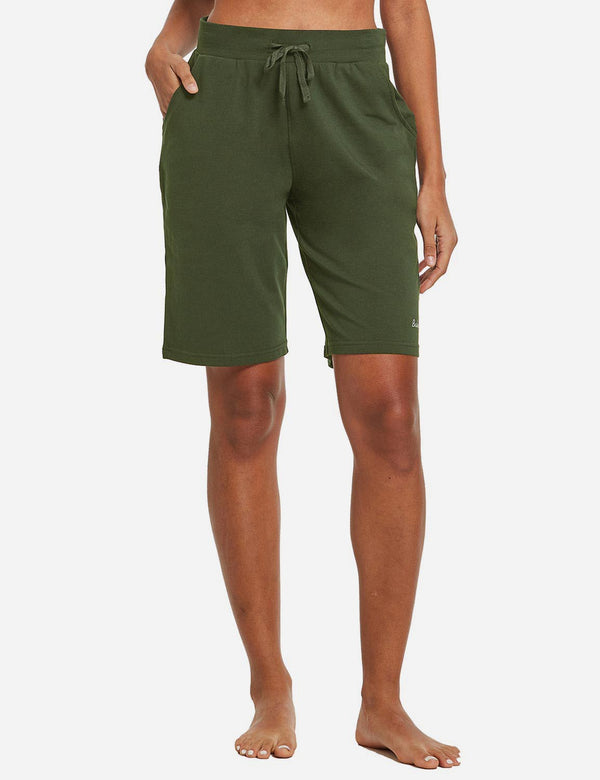 Baleaf Womens Cotton Straight Leg Pocketed Weekend Bermuda Shorts Olive Front