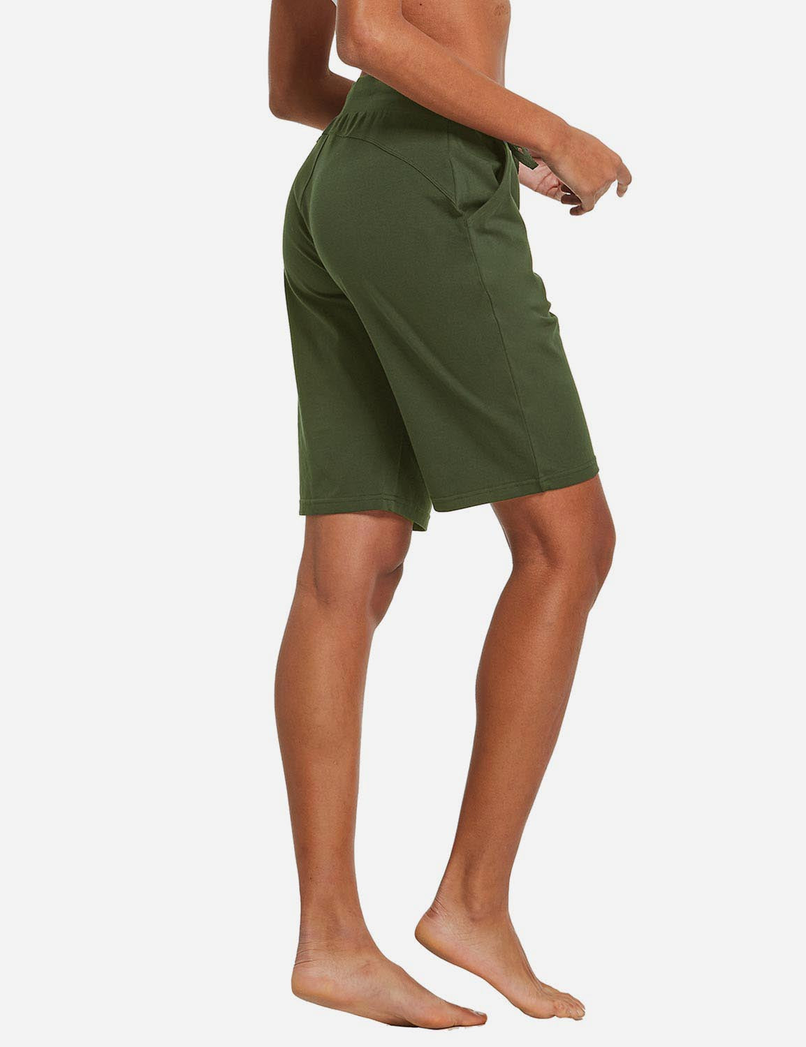 Baleaf Womens Cotton Straight Leg Pocketed Weekend Bermuda Shorts Olive Back