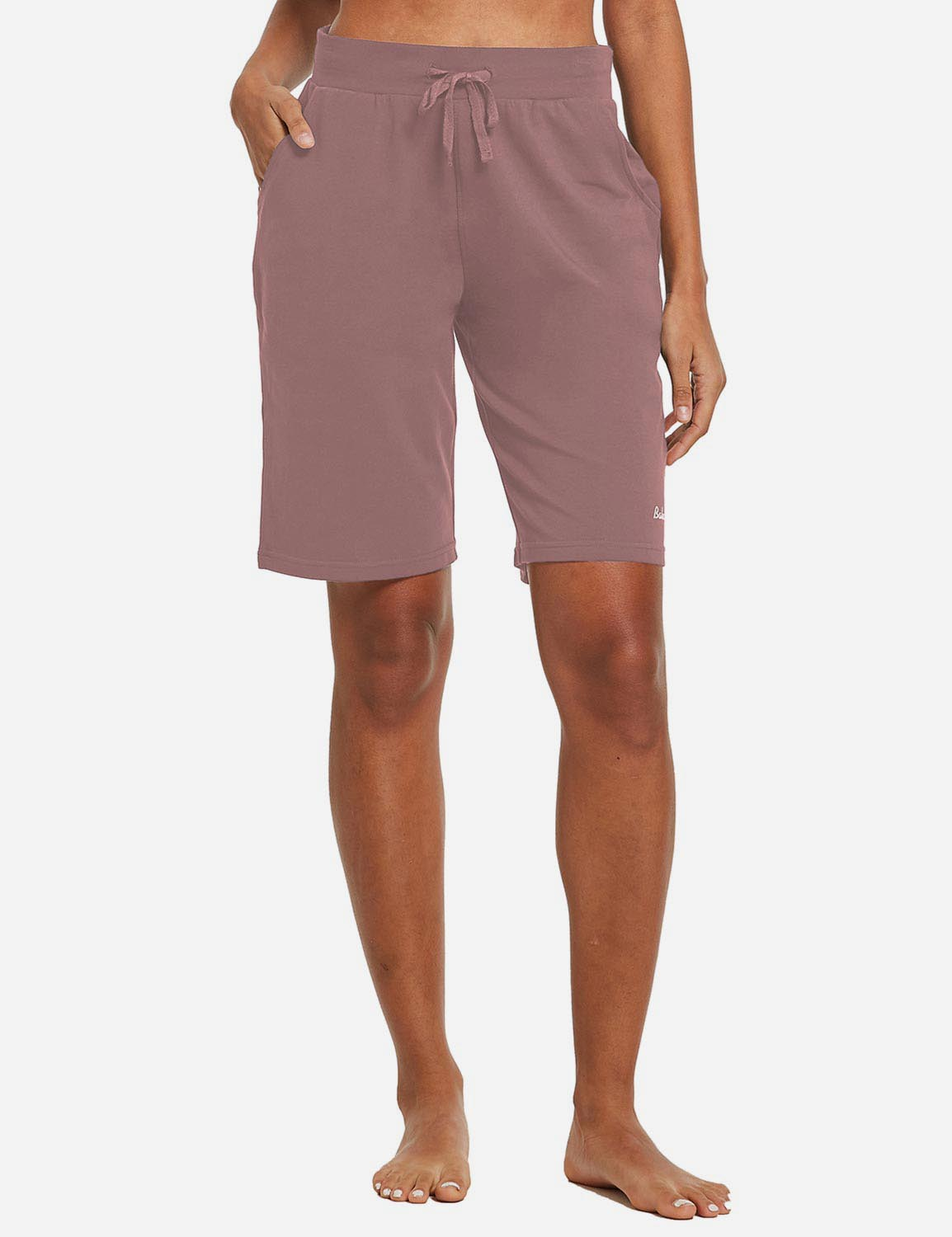 Baleaf Womens Cotton Straight Leg Pocketed Weekend Bermuda Shorts Pink Front