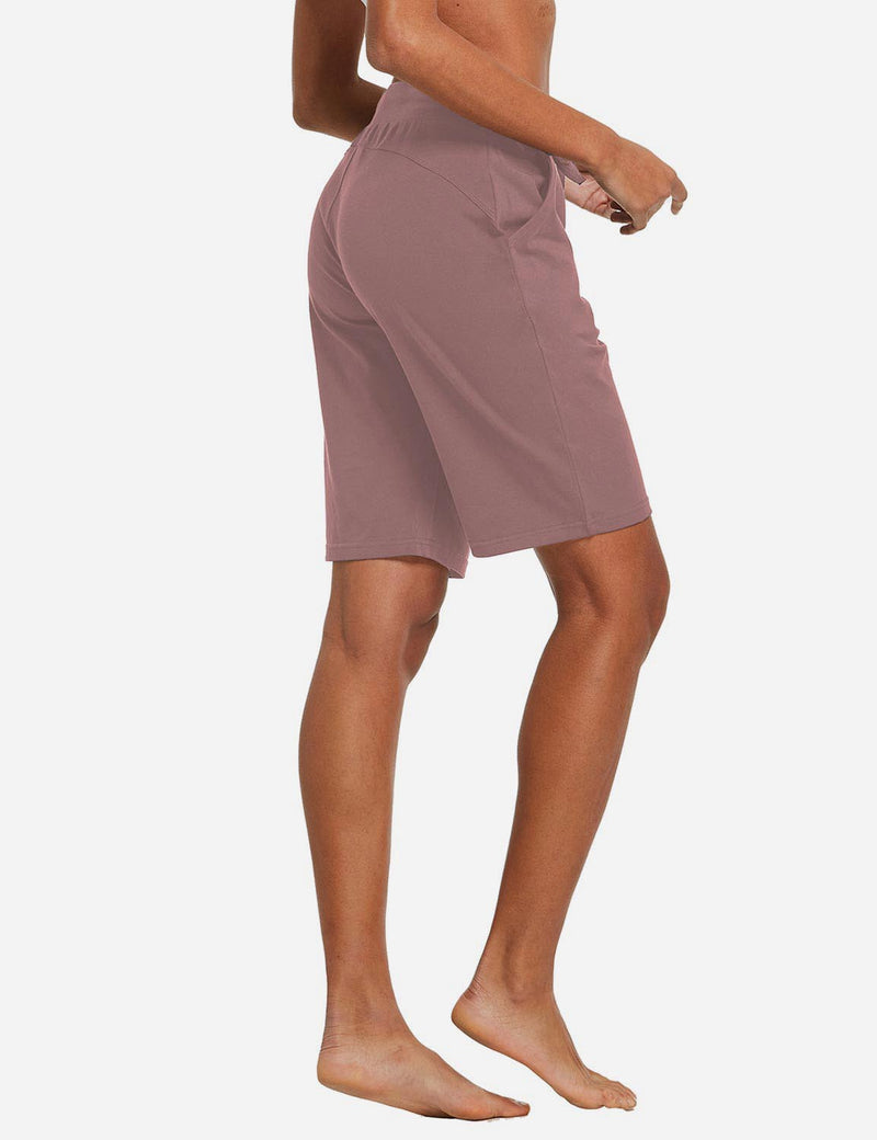 Baleaf Womens Cotton Straight Leg Pocketed Weekend Bermuda Shorts Pink Back