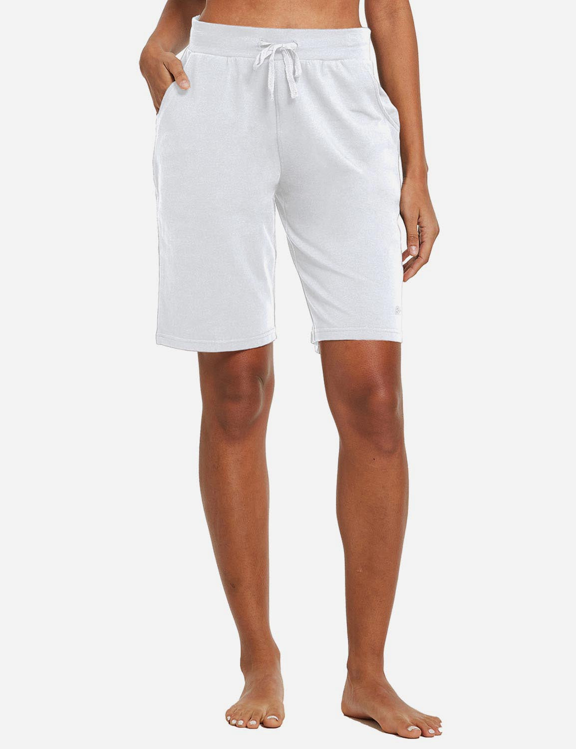 Baleaf Womens Cotton Straight Leg Pocketed Weekend Bermuda Shorts White Front
