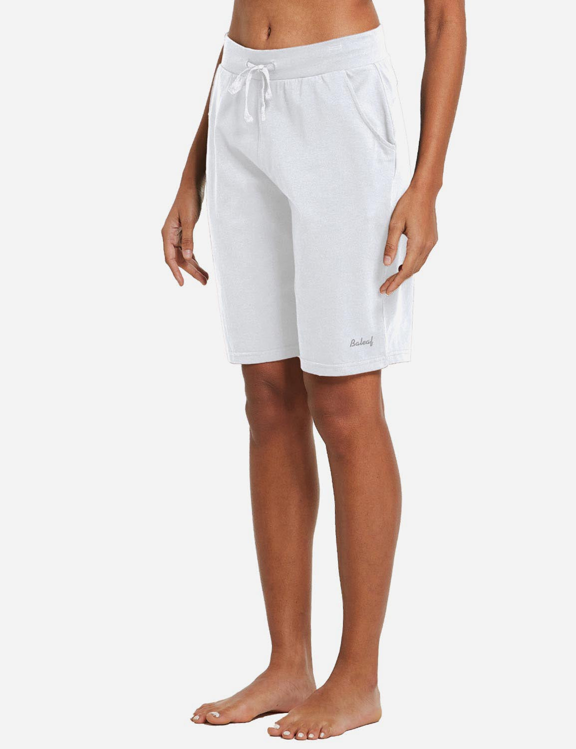 Baleaf Womens Cotton Straight Leg Pocketed Weekend Bermuda Shorts White Side