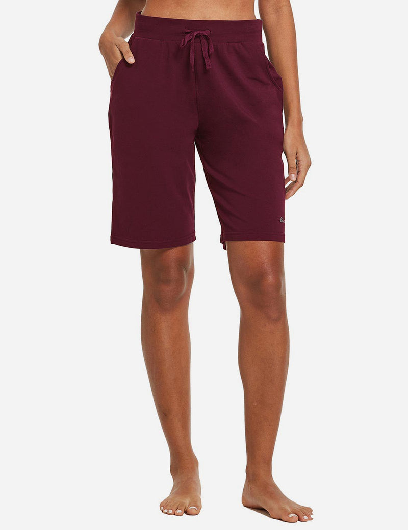 Baleaf Womens Cotton Straight Leg Pocketed Weekend Bermuda Shorts Wine Red Front