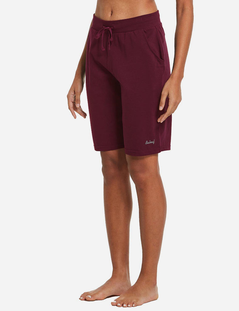 Baleaf Womens Cotton Straight Leg Pocketed Weekend Bermuda Shorts Wine Red Side