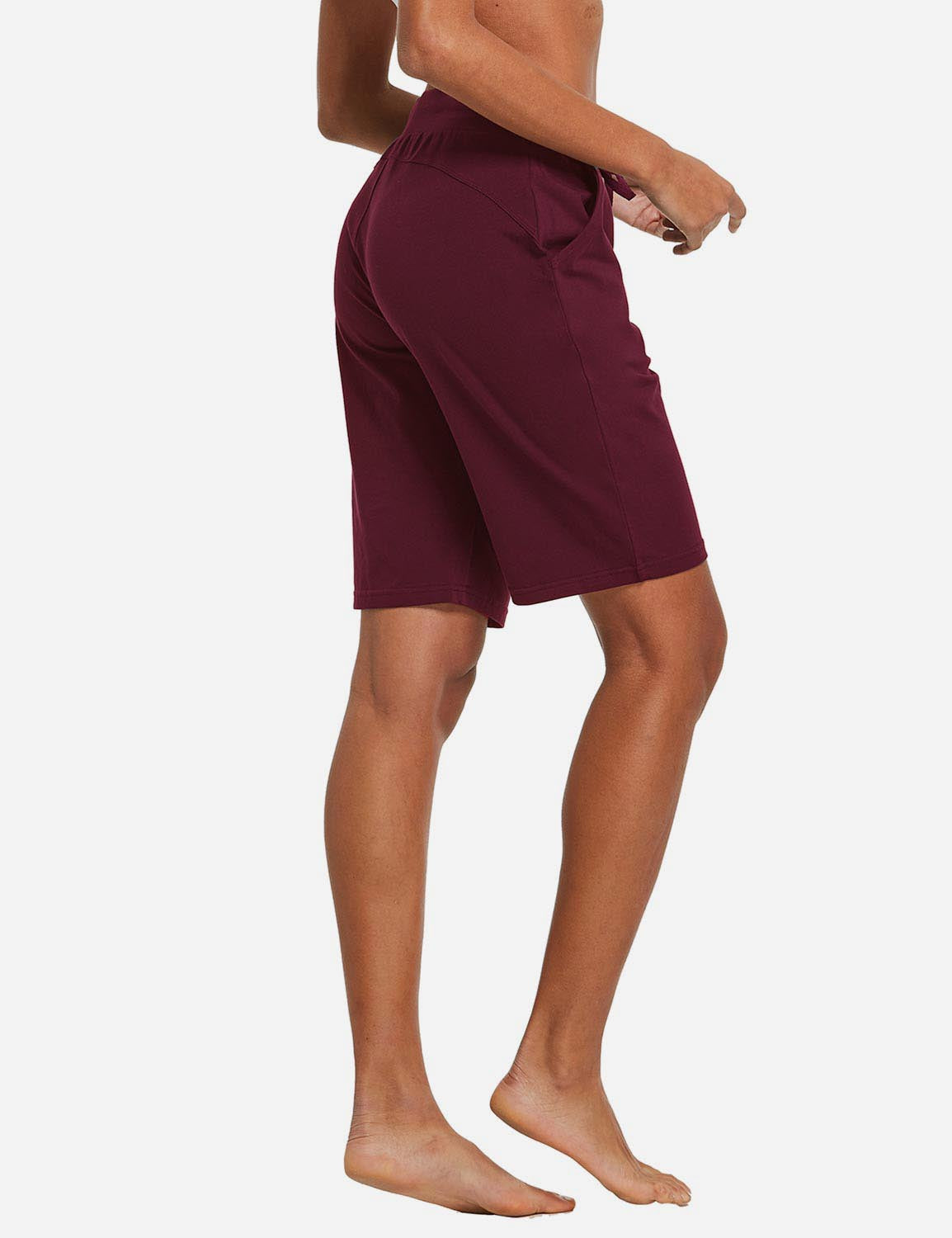 Baleaf Womens Cotton Straight Leg Pocketed Weekend Bermuda Shorts Wine Red Back
