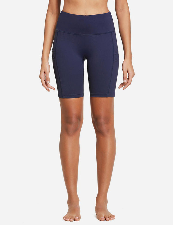 "BALEAF Women's 8"" High Waist Pocketed Compression Shorts dark navy front"