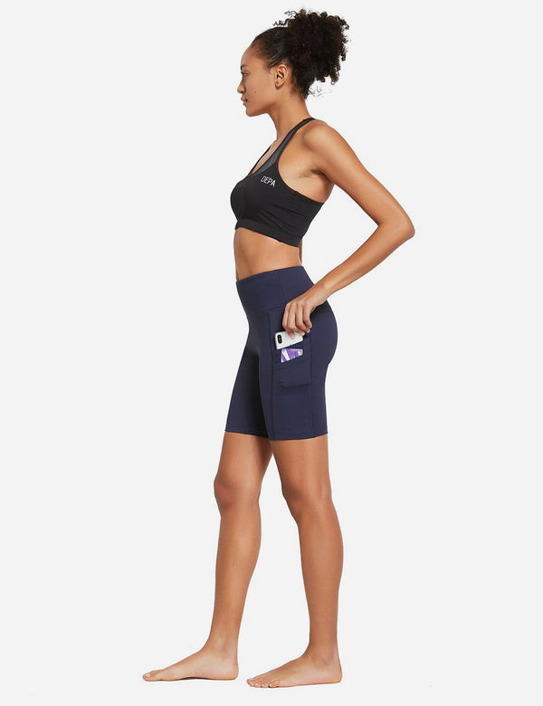 "BALEAF Women's 8"" High Waist Pocketed Compression Shorts drak navy full"