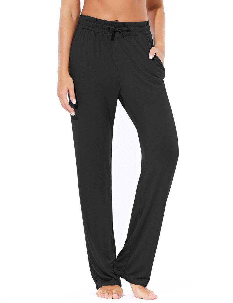 Baleaf Women's Rayon High-Rise Loose Fit Weekend Jogger Sweatpants Black Front
