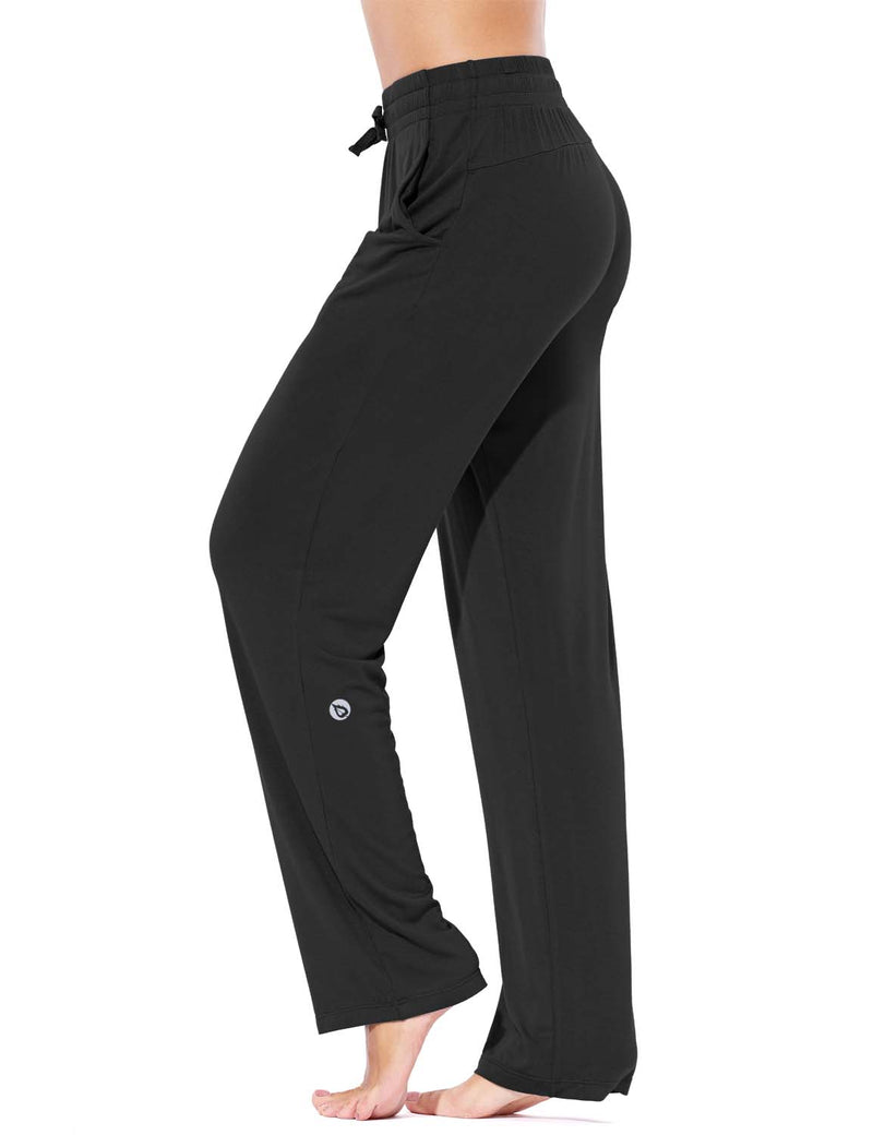Baleaf Women's Rayon High-Rise Loose Fit Weekend Jogger Sweatpants Black side
