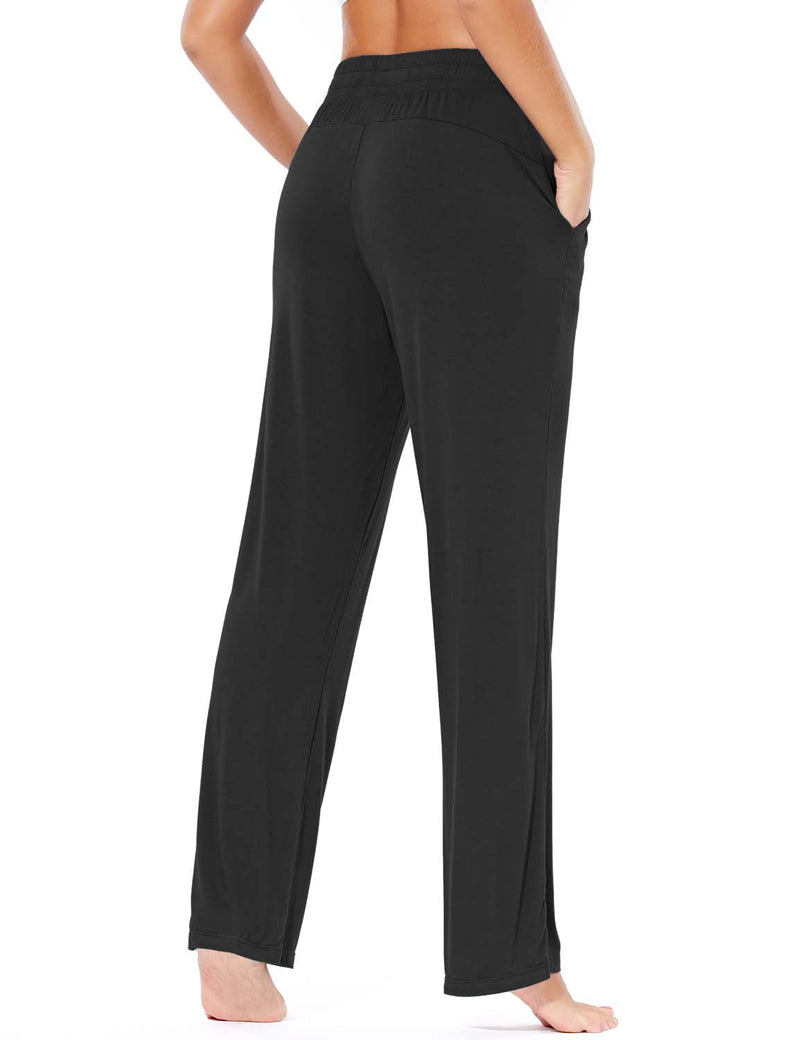 Baleaf Women's Rayon High-Rise Loose Fit Weekend Jogger Sweatpants Black back