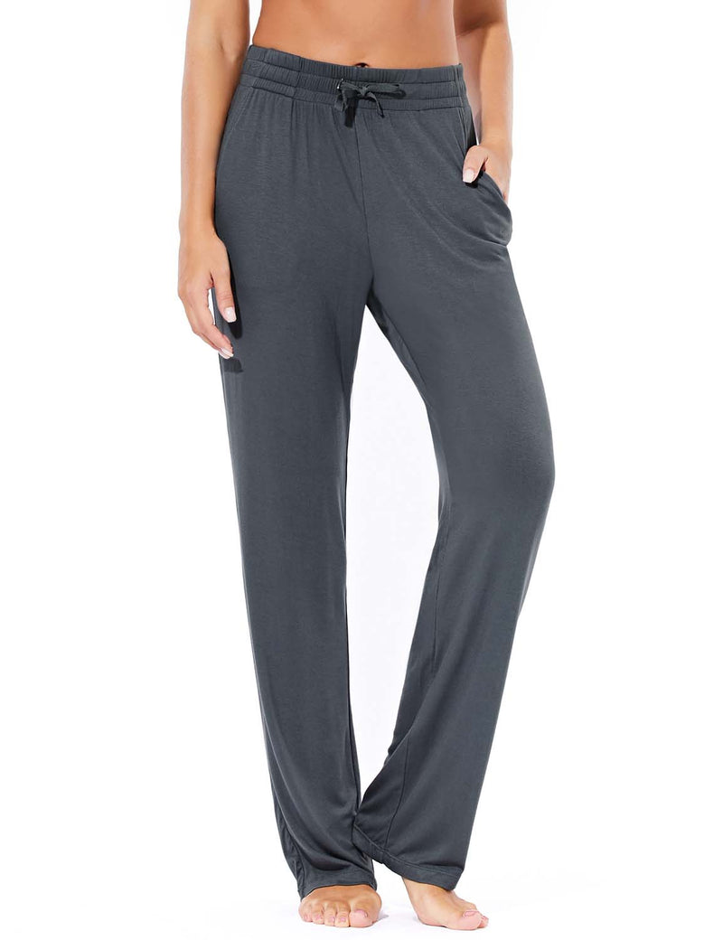 Baleaf Women's Rayon High-Rise Loose Fit Weekend Jogger Sweatpants Dark Gray Front
