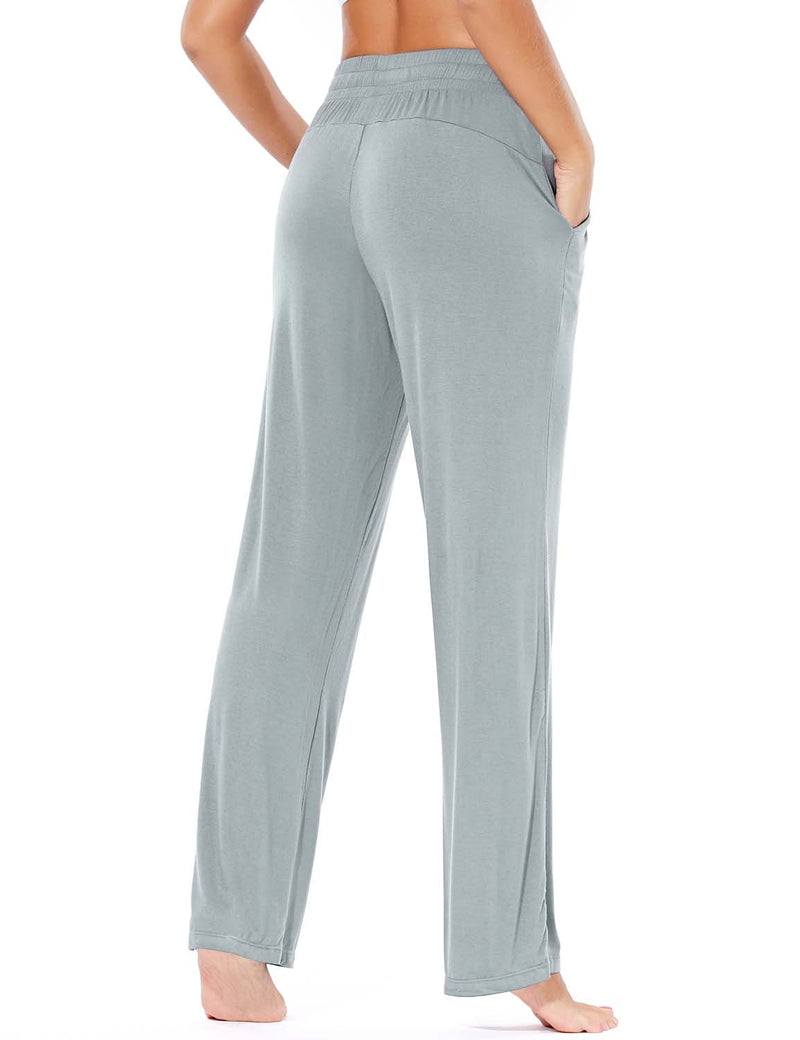 Baleaf Women's Rayon High-Rise Loose Fit Weekend Jogger Sweatpants Light Gray back