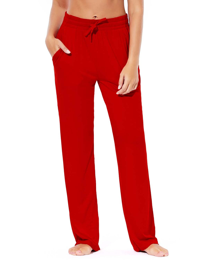 Baleaf Women's Rayon High-Rise Loose Fit Weekend Jogger Sweatpants Red front
