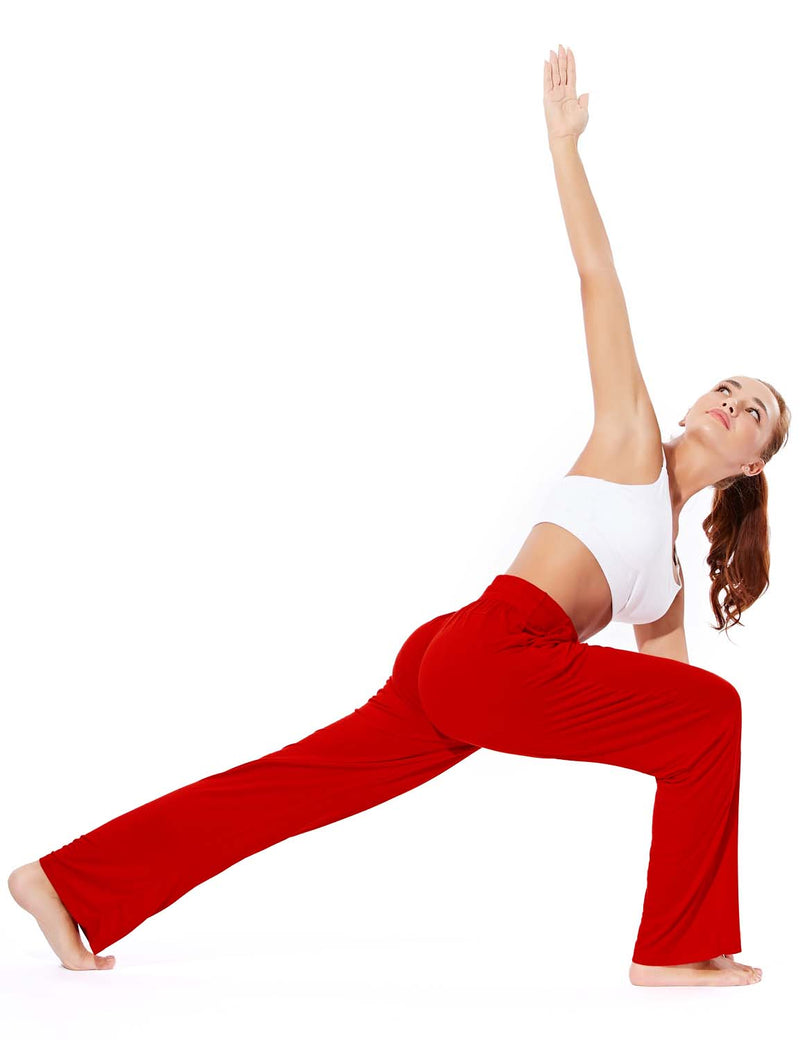 Baleaf Women's Rayon High-Rise Loose Fit Weekend Jogger Sweatpants Red full